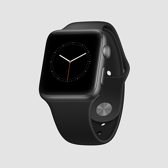 apple watch mockup template perspective view space gray aluminium black sport band psd free 1